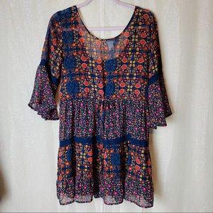 Band of Gypsies• hippie boho ruffled dress~L